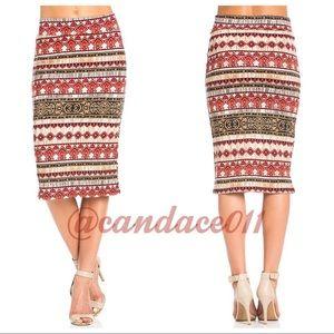 Damask Print Pencil Skirt